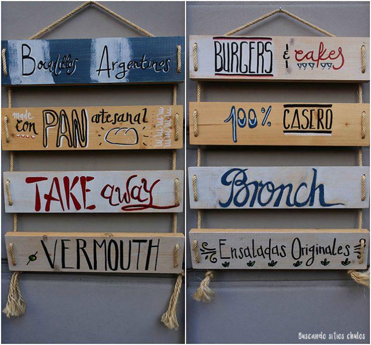 Carteles de madera en BRO Room Barcelona