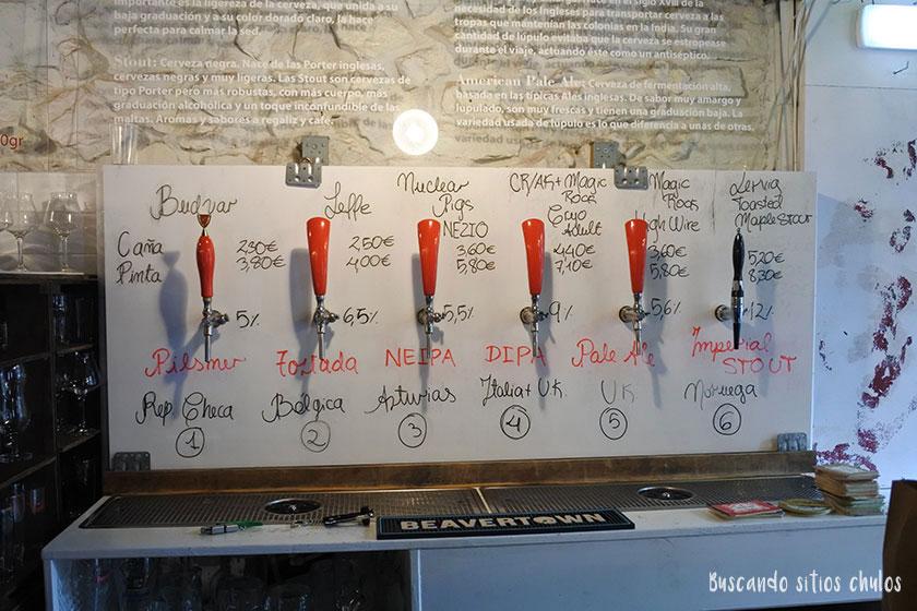 6 grifos de cerveza artesana en Zio Pig Gijón