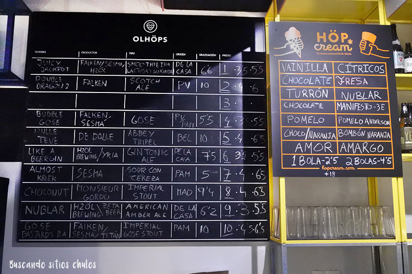 Pizarra de Olhöps Craft Beer House en Valencia