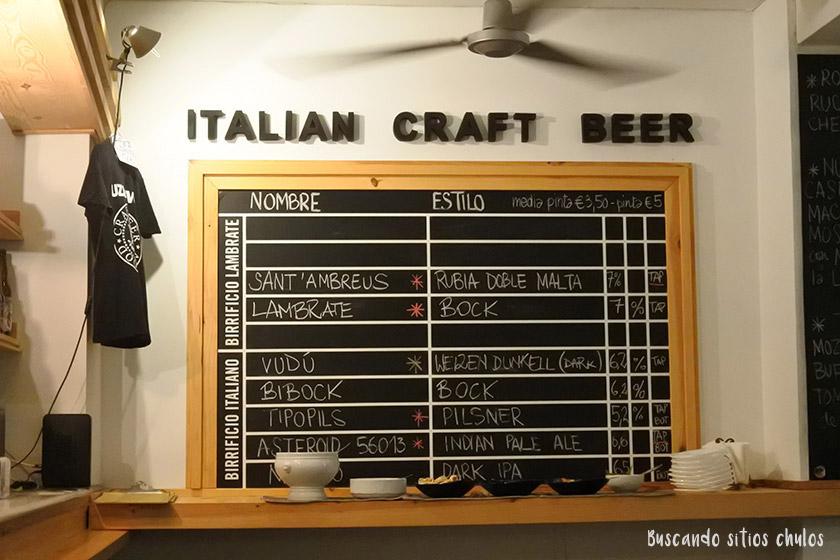 Pizarra de Ruzanuvol Craft Beer en Valencia