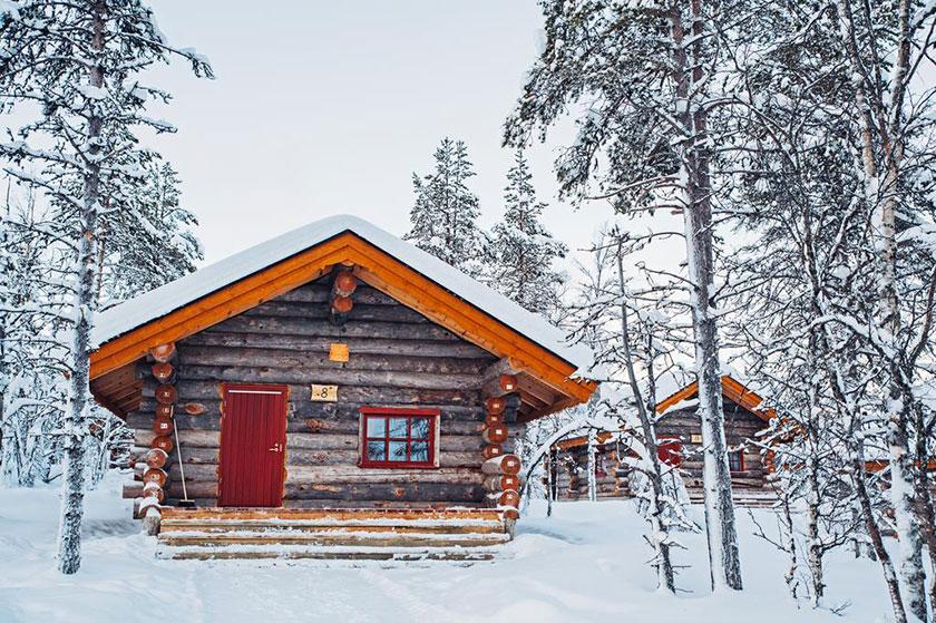 Cabañas de madera en Kakslauttanen Artic Resort