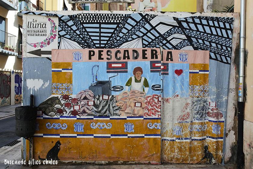 Mural pescadería en Valencia